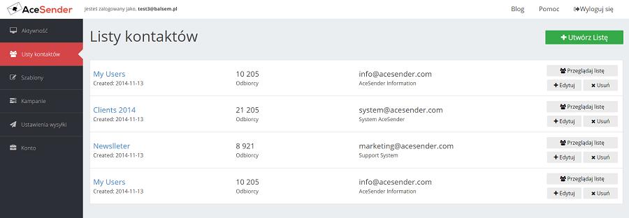 Przegląd konta AceSender