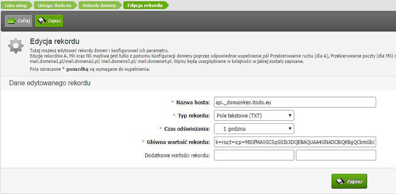 Dodawanie rekordu DKIM w home.pl