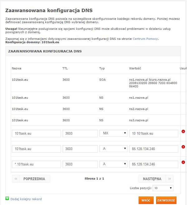 Panel zarządzania DNS w home.pl